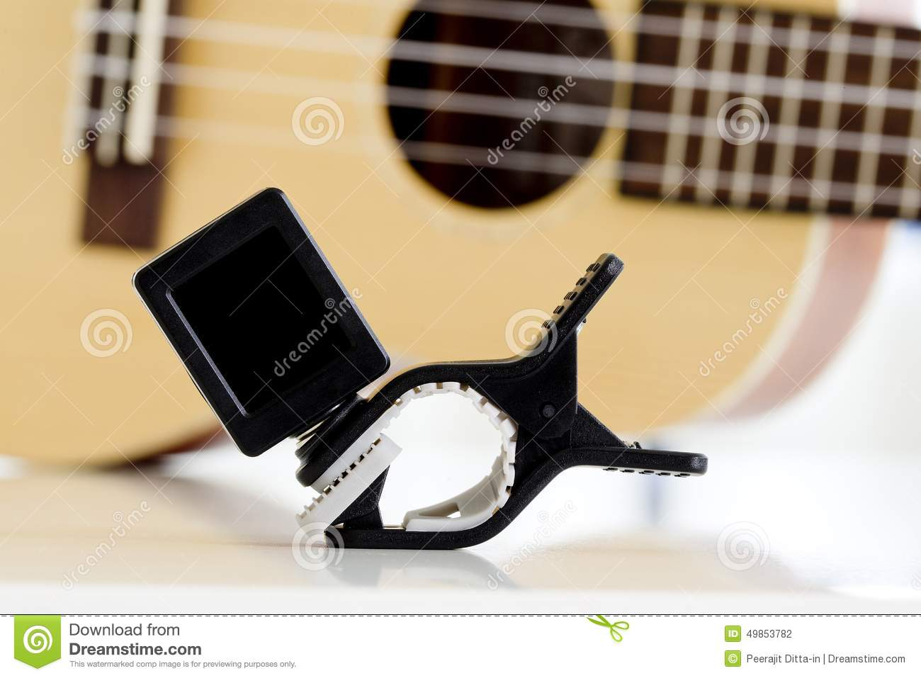 clip tuner equipment for tuning the ukulele guitar sound stock photo image of machine chord. Black Bedroom Furniture Sets. Home Design Ideas