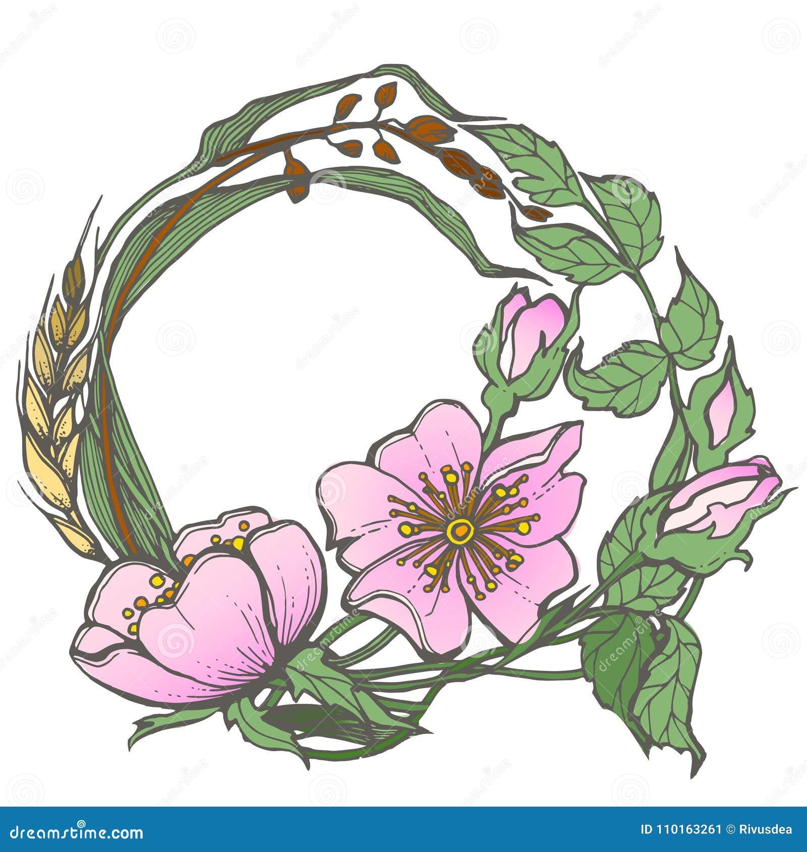Bonito Flores Simples De La Página Del Colorante Ilustración ...