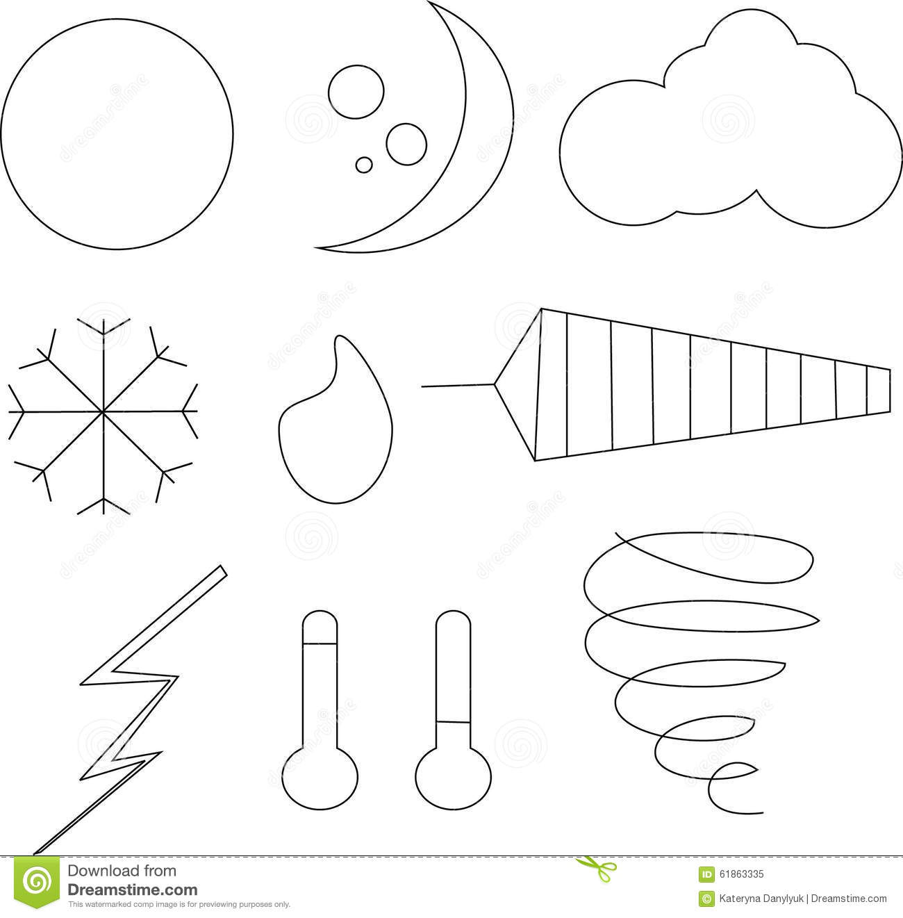 Clipart Black And White Weather Icons