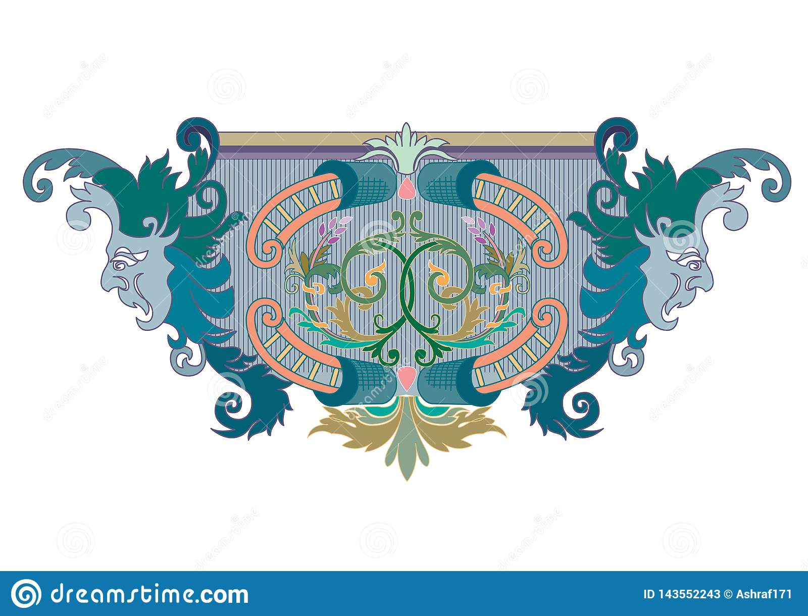 Clipart of Blue, green and coral Design Ornament with masks