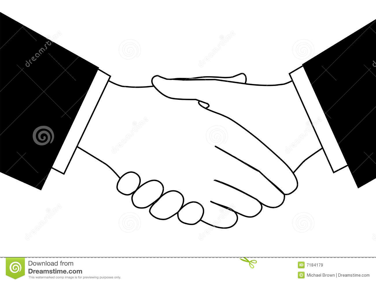 Clipart Business Deal Handshake In Black And White Stock
