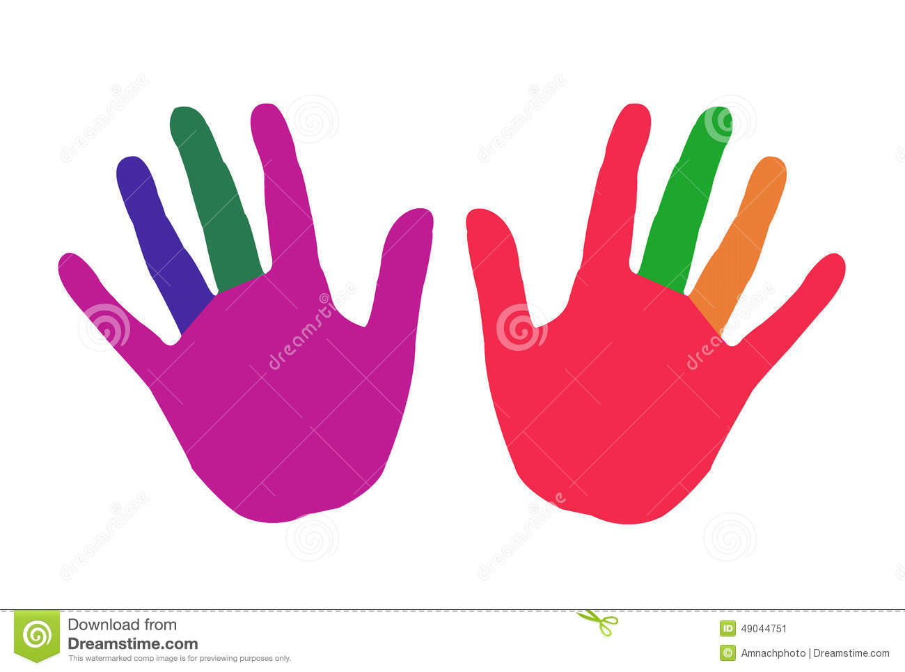 Clipart Of Colorful Hands. Stock Illustration
