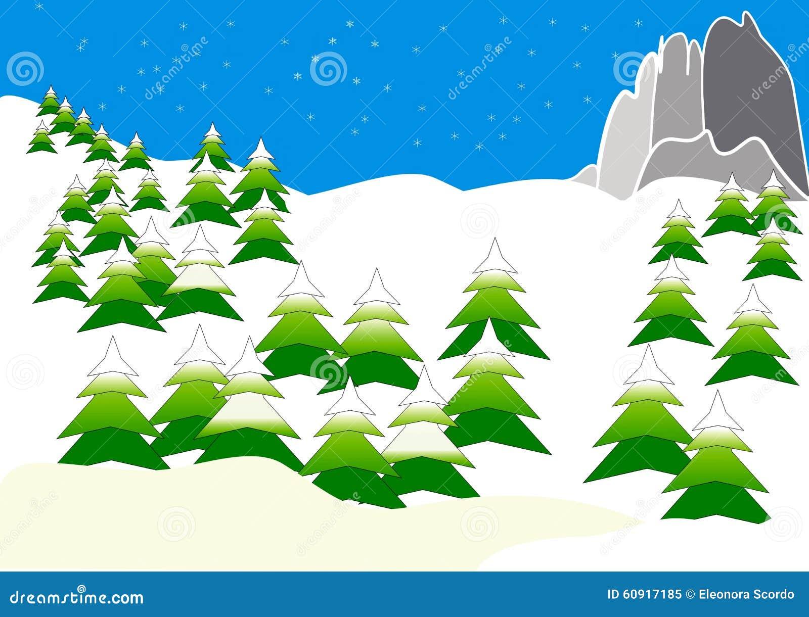 Clipart con le montagne nell 39 inverno illustrazione di - Animali in inverno clipart ...