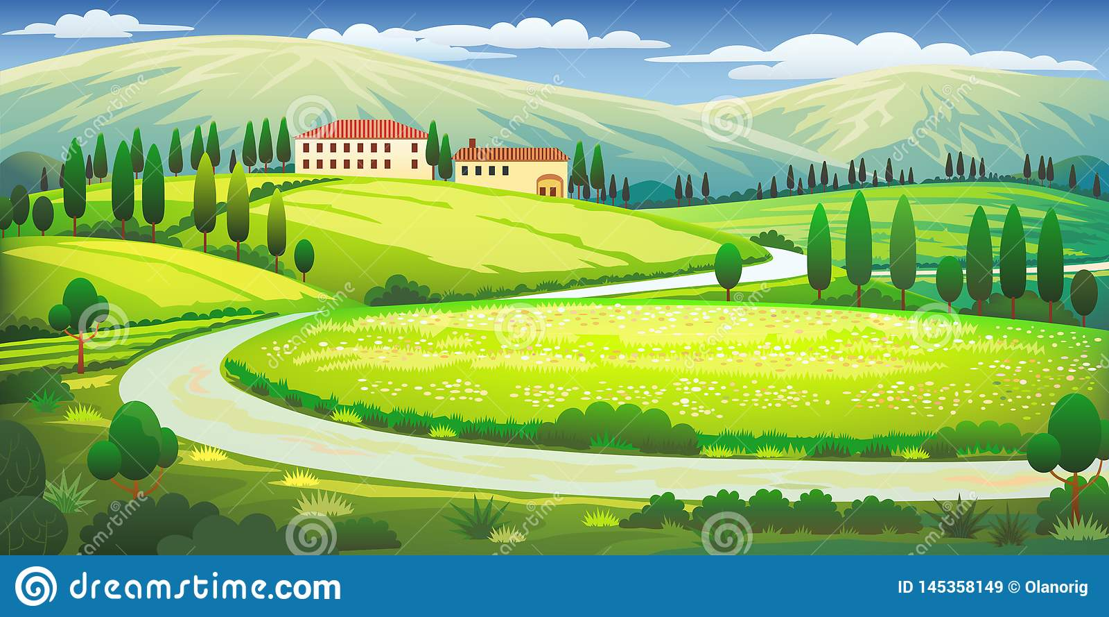Clipart de collines de la Toscane