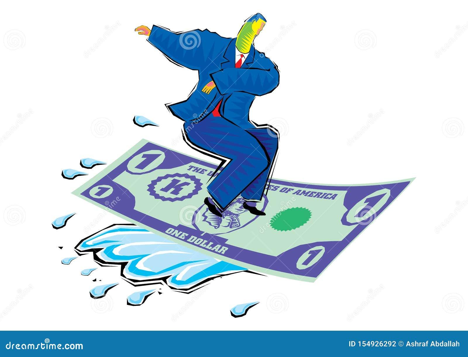Clipart de montar a onda finical - tapete de voo do homem de negócios feito da moeda do dólar
