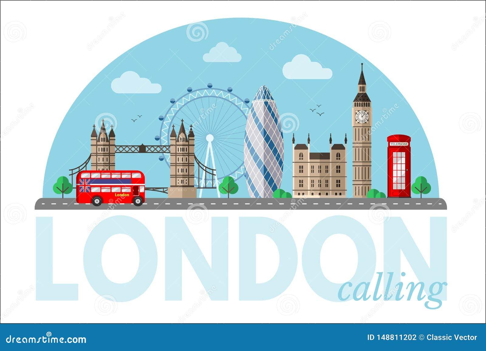 Clipart de vecteur de paysage urbain de Londres avec le lettrage