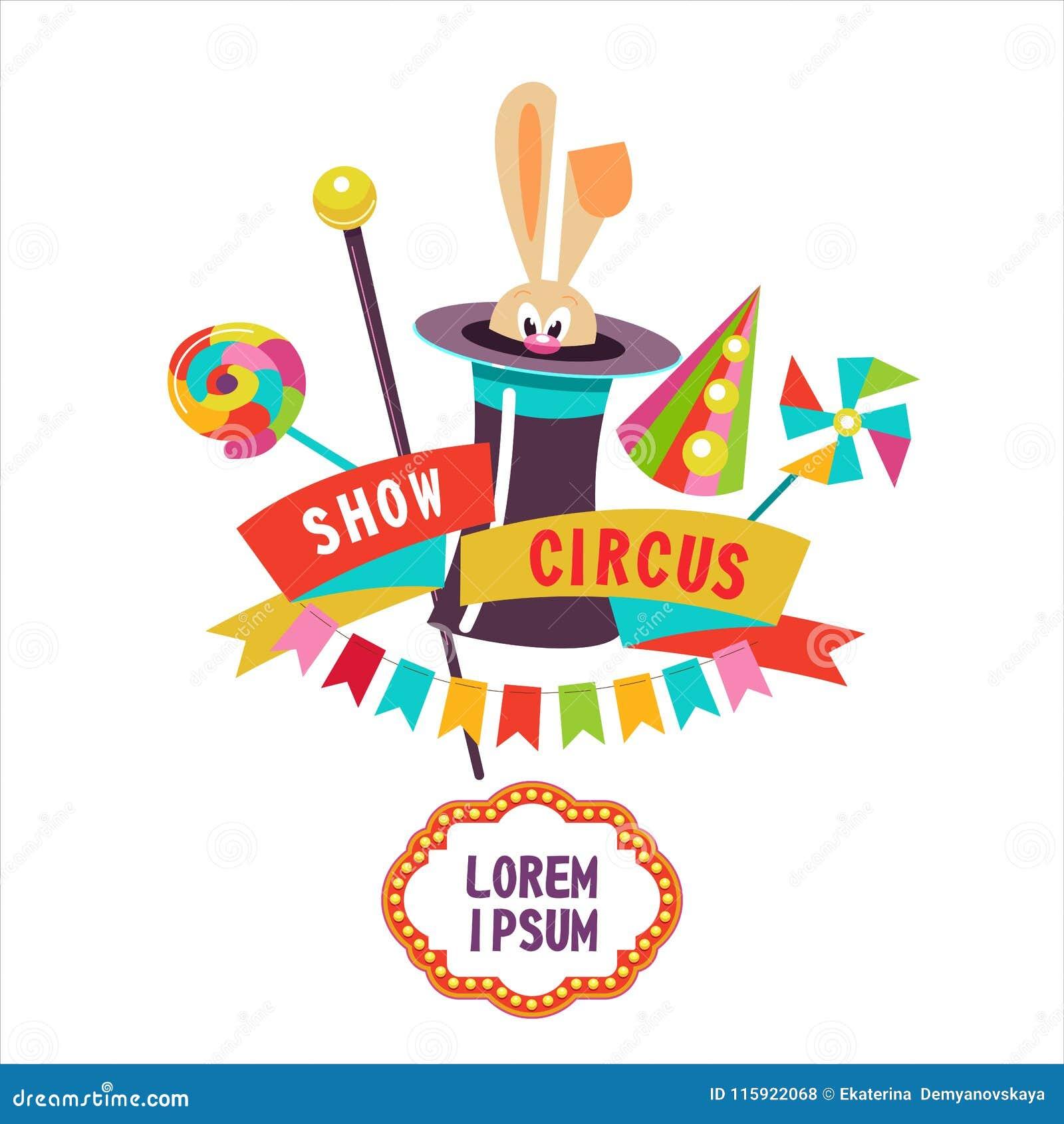 Circo Conejo en el sombrero Ilustración del vector El cartel del circo  Composición de cliparts Con el lugar para el texto Aislado en un fondo  blanco cb61afdf5b1