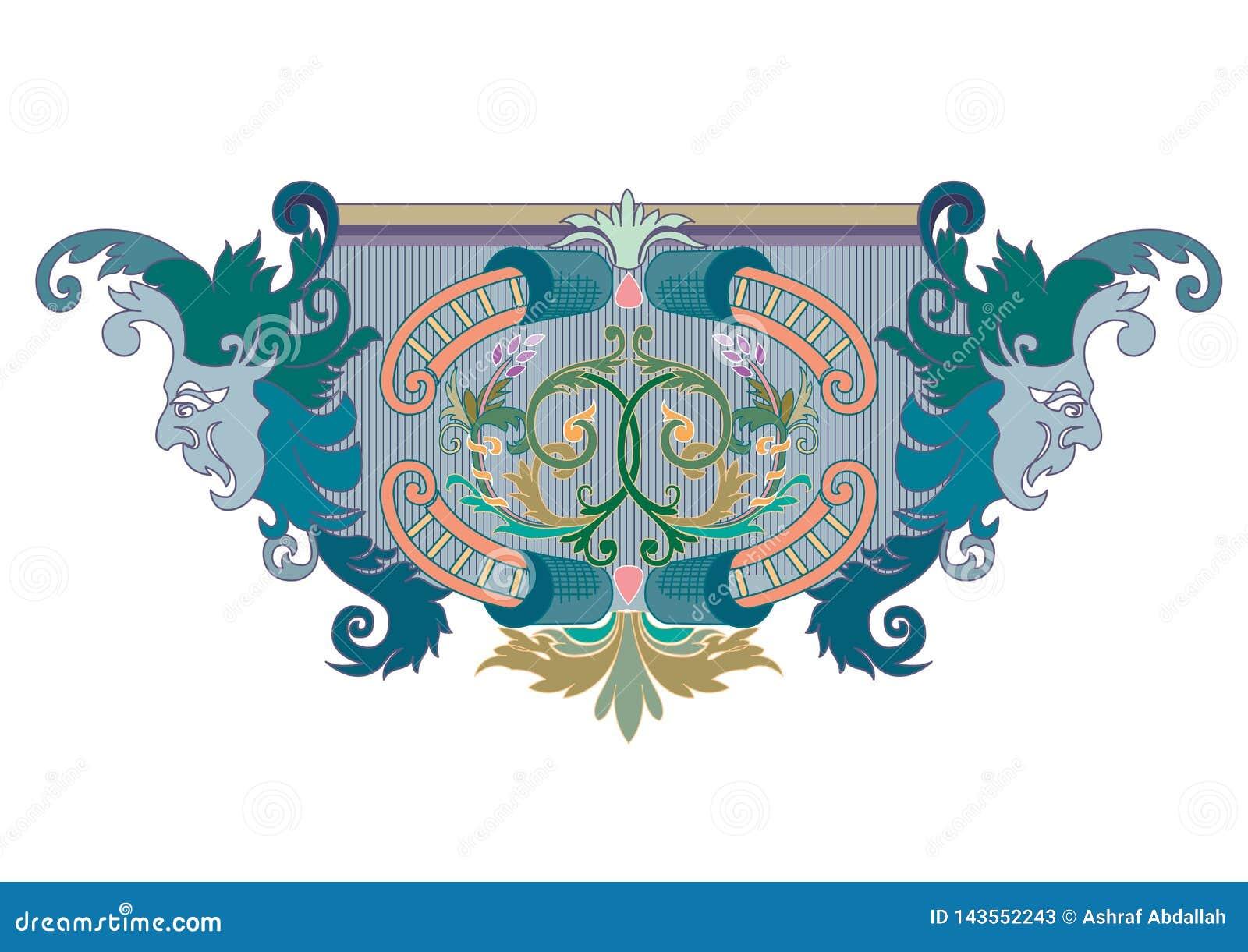Clipart del ornamento azul, verde y coralino del diseño con las máscaras