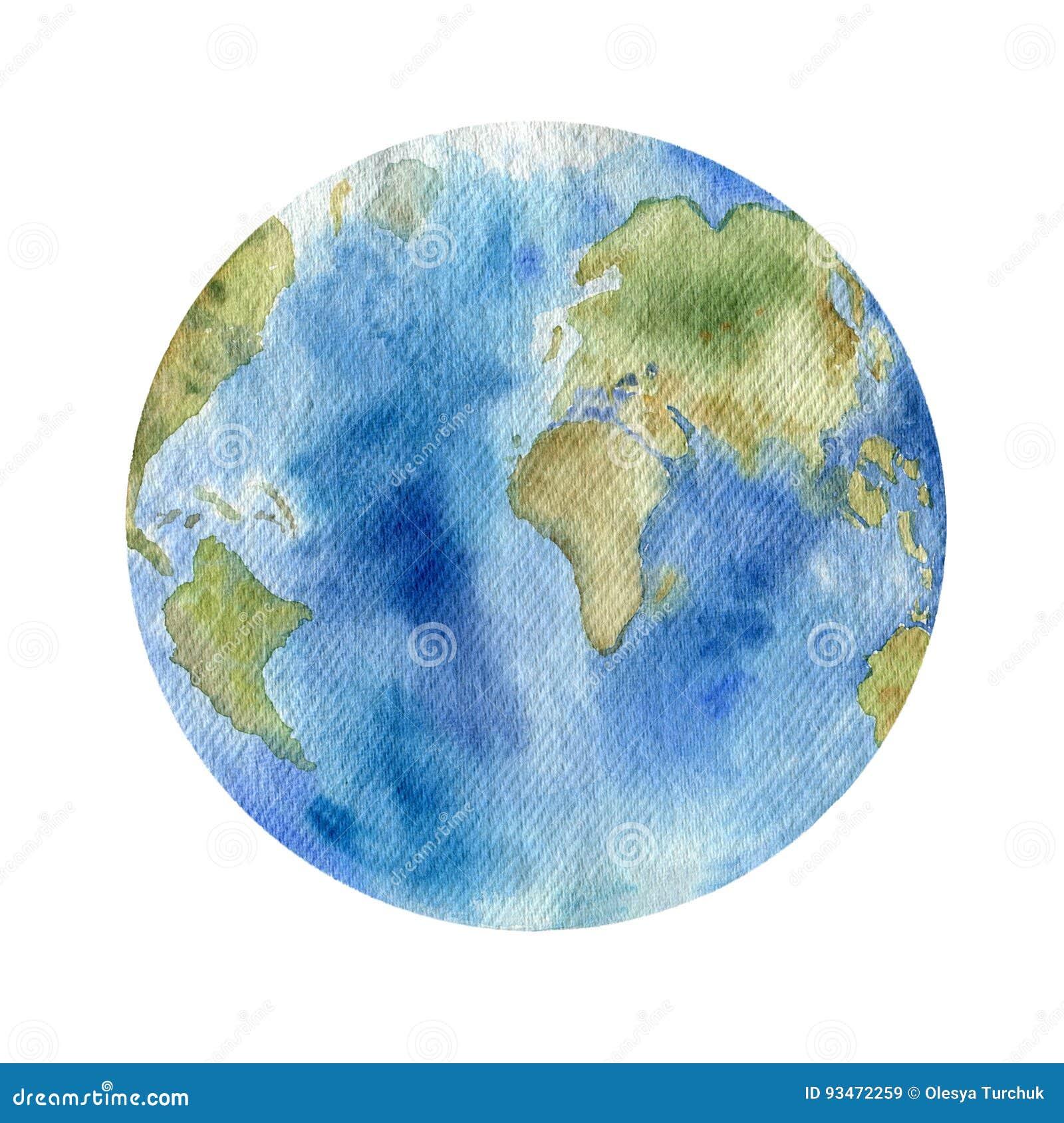 Clipart dell acquerello di pianeta Terra