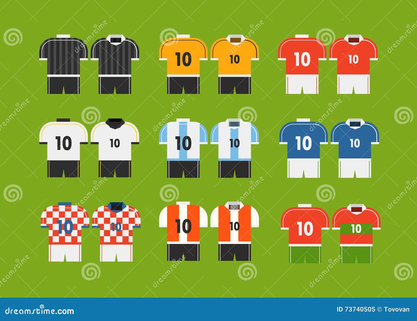 Clipart Diferente Dos T-shirt Da Equipe De Futebol Ilustração do ... 844e4ff80e673