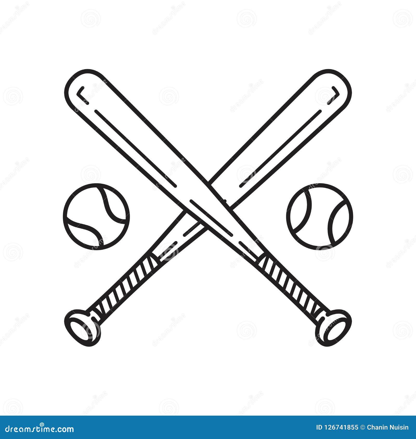 Clipart do símbolo da ilustração dos desenhos animados do bastão de beisebol do logotipo do ícone do vetor do basebol