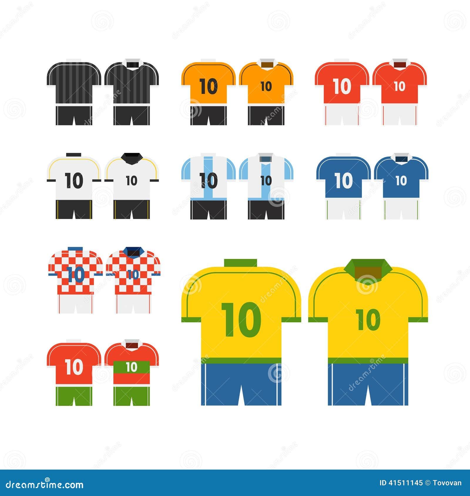 Clipart Do Vetor Dos T-shirt Da Equipe De Futebol Do Mundo ... 71a85b0c451c7