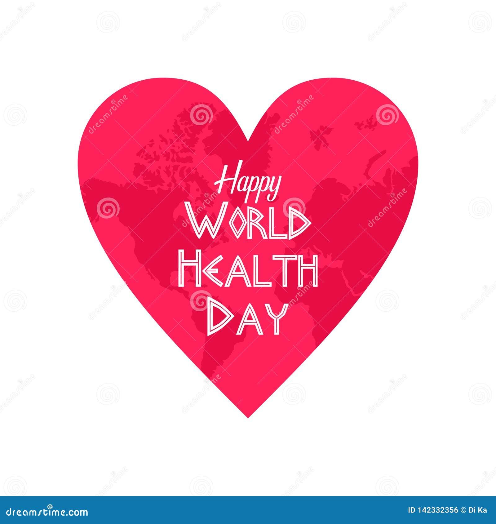Clipart feliz do dia de saúde de mundo com um sinal do amor