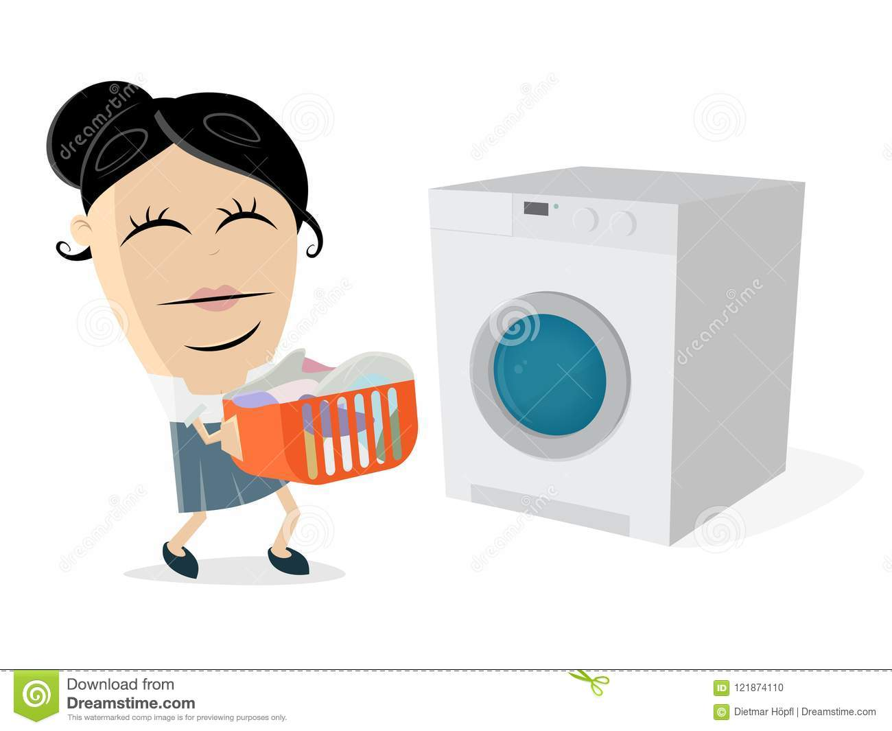 Funny Cartoon Woman With Dirty Laundry And Washing Machine Stock