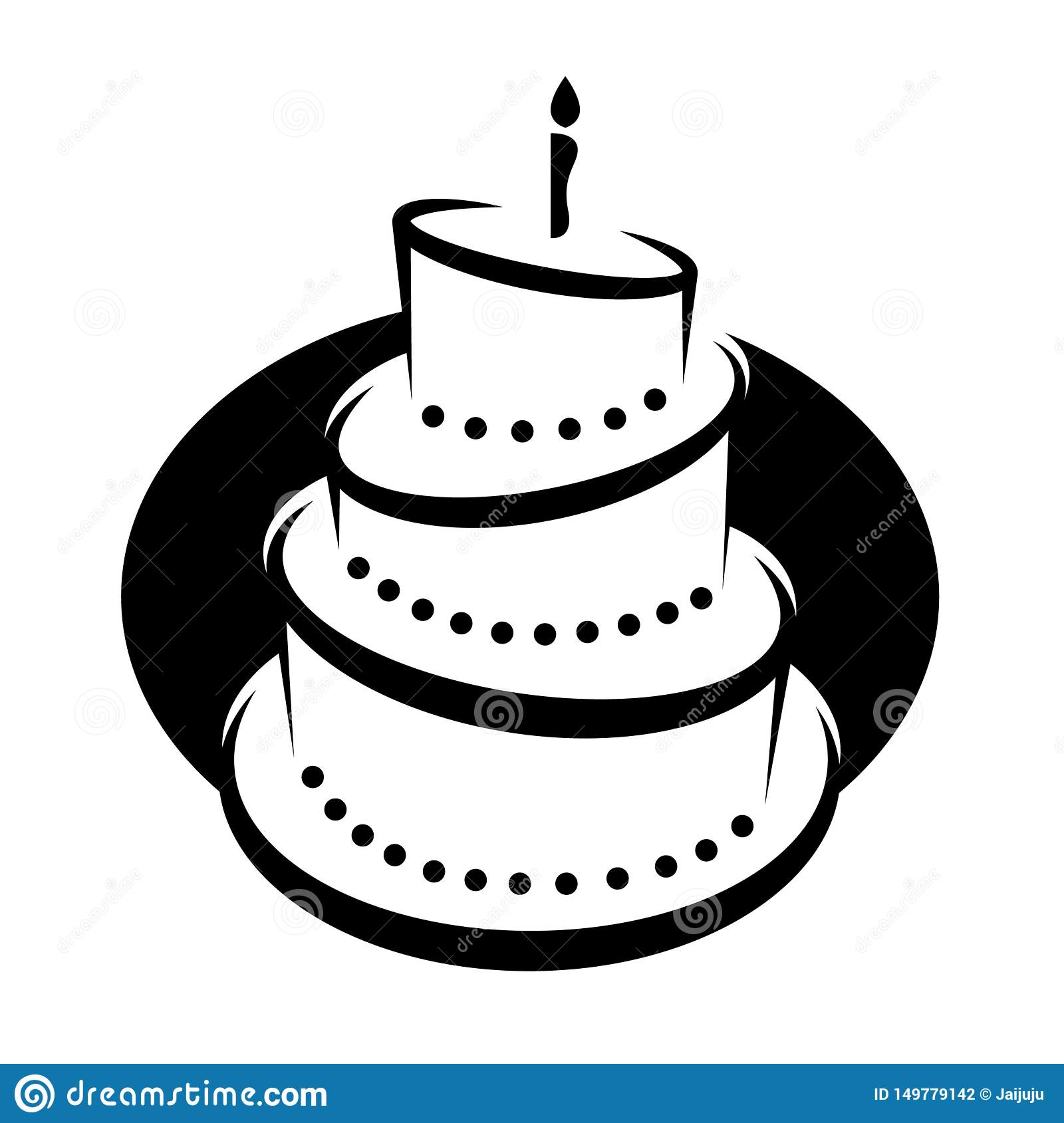 Admirable Clipart Illustration Of A Black And White Tiered Birthday Cake Funny Birthday Cards Online Alyptdamsfinfo