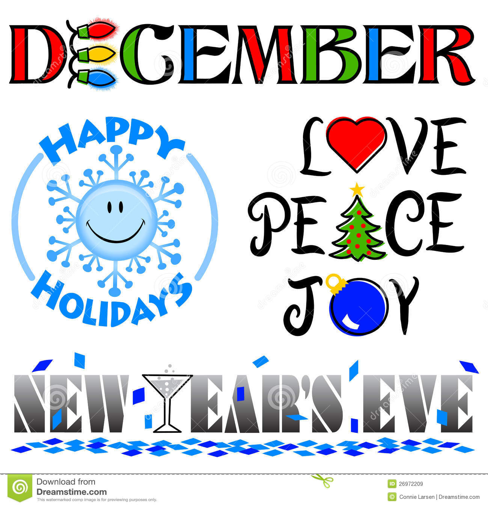 Clipart (images graphiques) d événements de décembre réglé/ENV