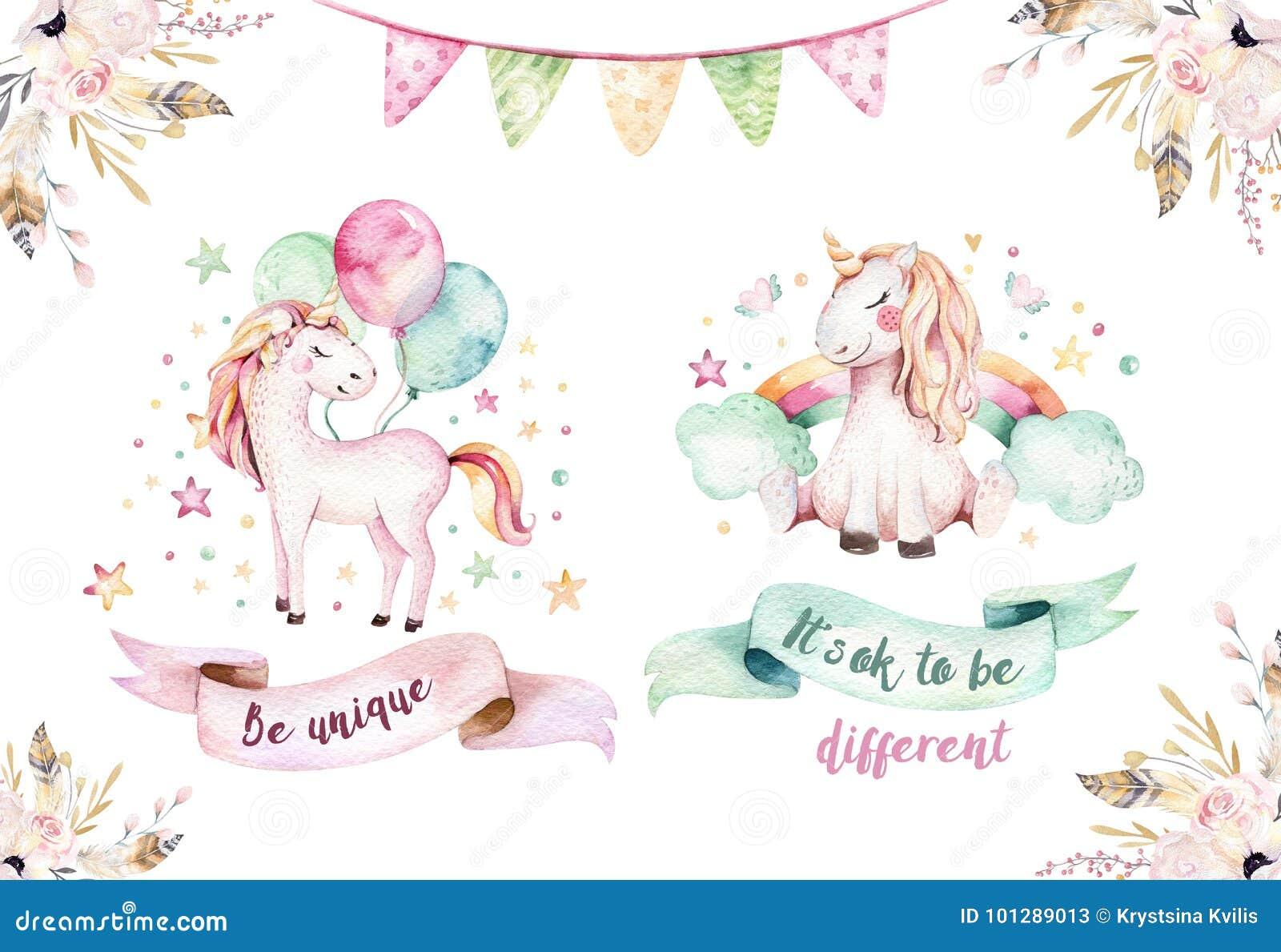Clipart lindo aislado del unicornio de la acuarela Ejemplo de los unicornios del cuarto de niños Cartel de los unicornios del arc