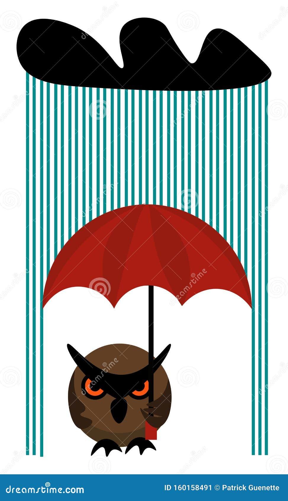 Clipart Of An Owl Holding An Umbrella On A Rainy Day ...
