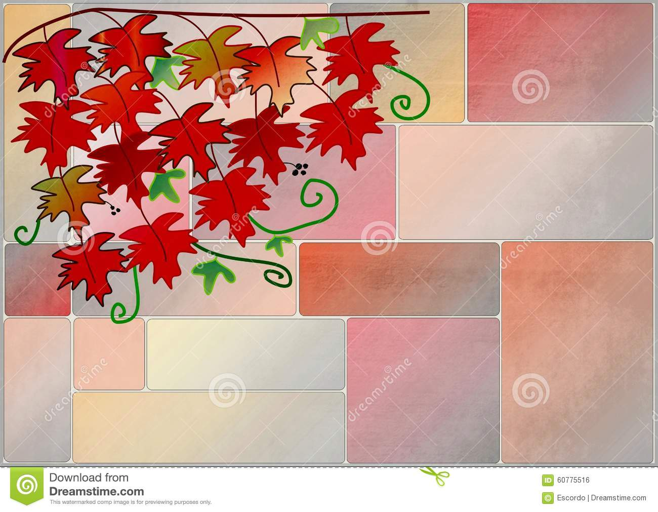 Wall Art Red Leaves : Clipart with red vine leaves on a wall stock illustration