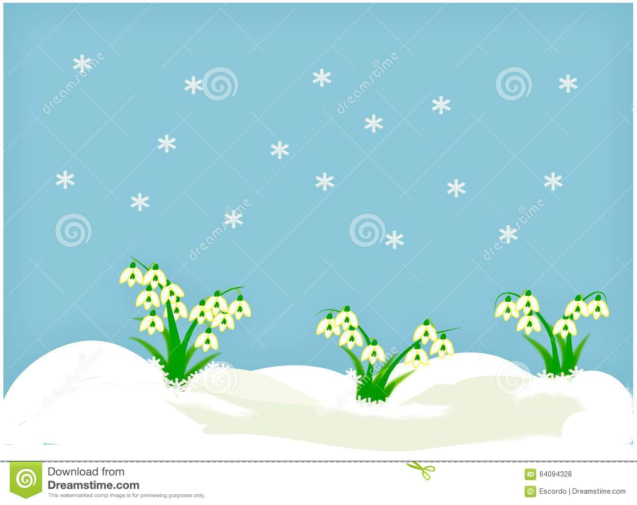 Clipart with snowdrops stock illustration. Illustration of ...