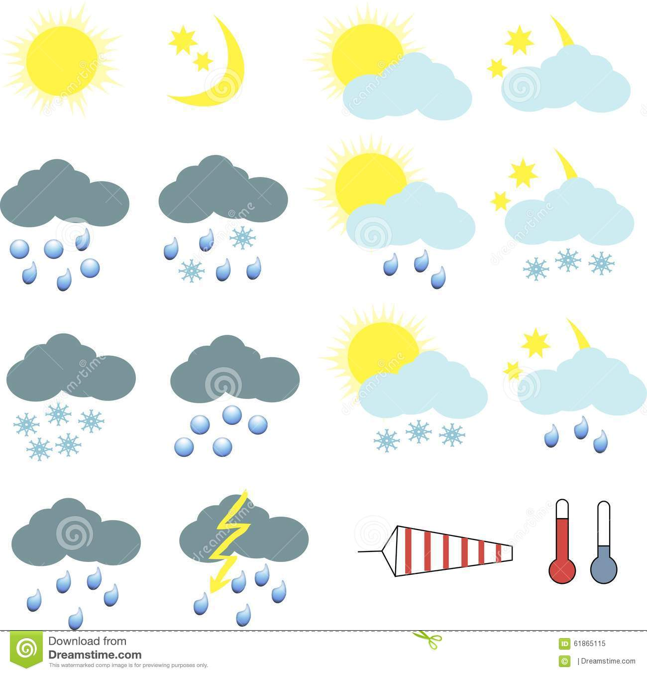 Clipart For Weather Icons Stock Illustration - Image: 61865115
