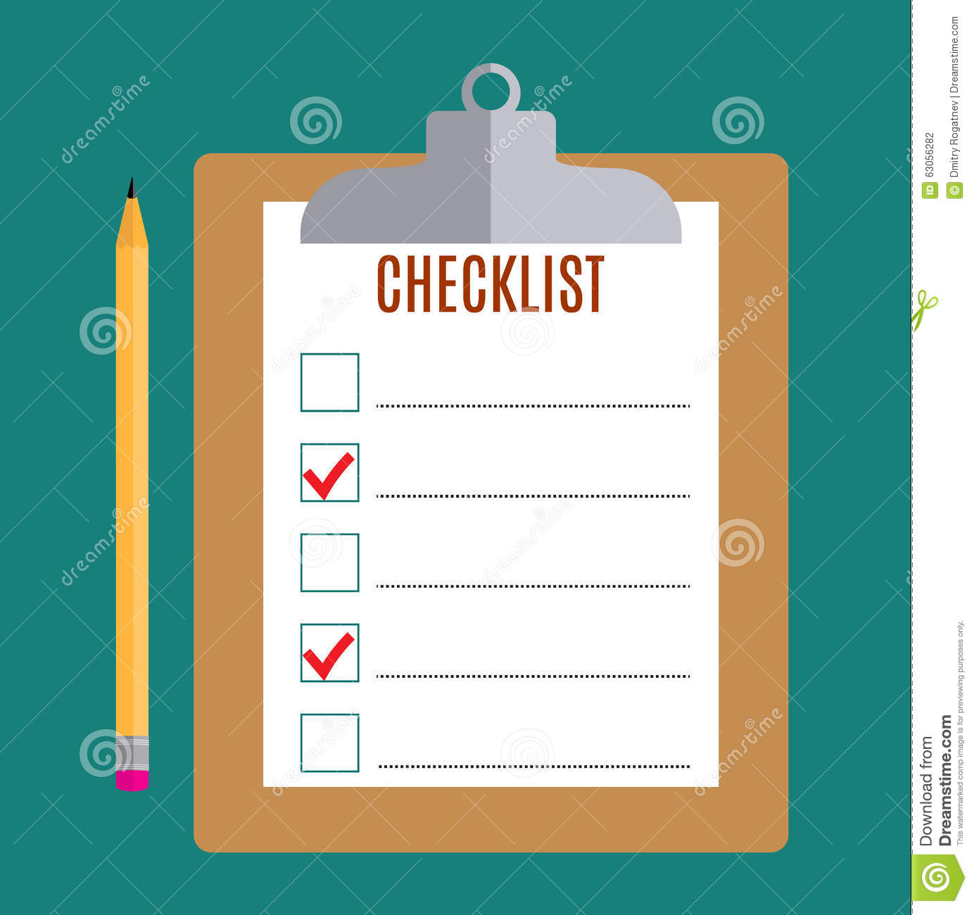 Clipboard With Blank Checklist Form Stock Vector Image 63056282