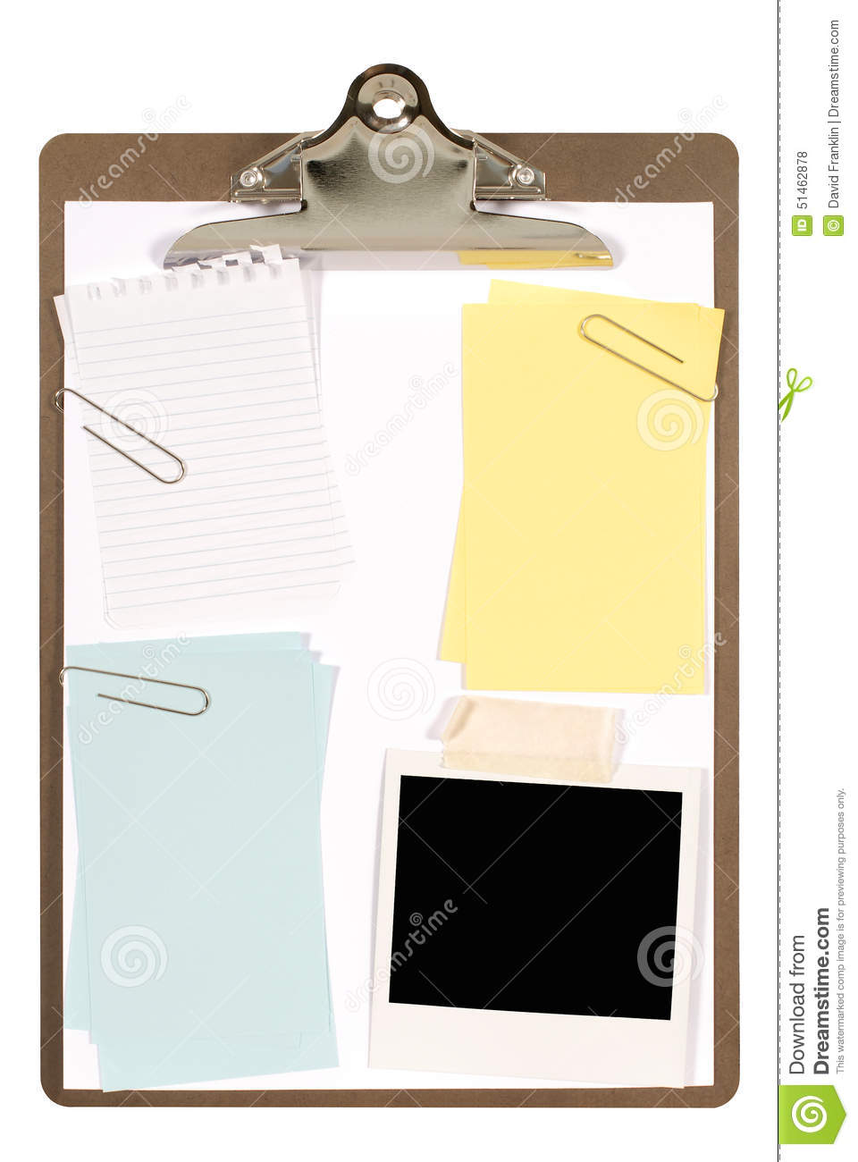 Clipboard With Polaroid Photo Frame, Torn Notepaper And Various Post ...
