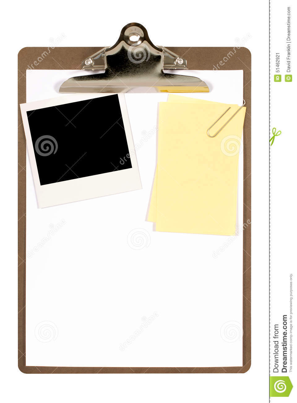 Clipboard With Polaroid Photo Frame And Yellow Post-it Style Sticky ...