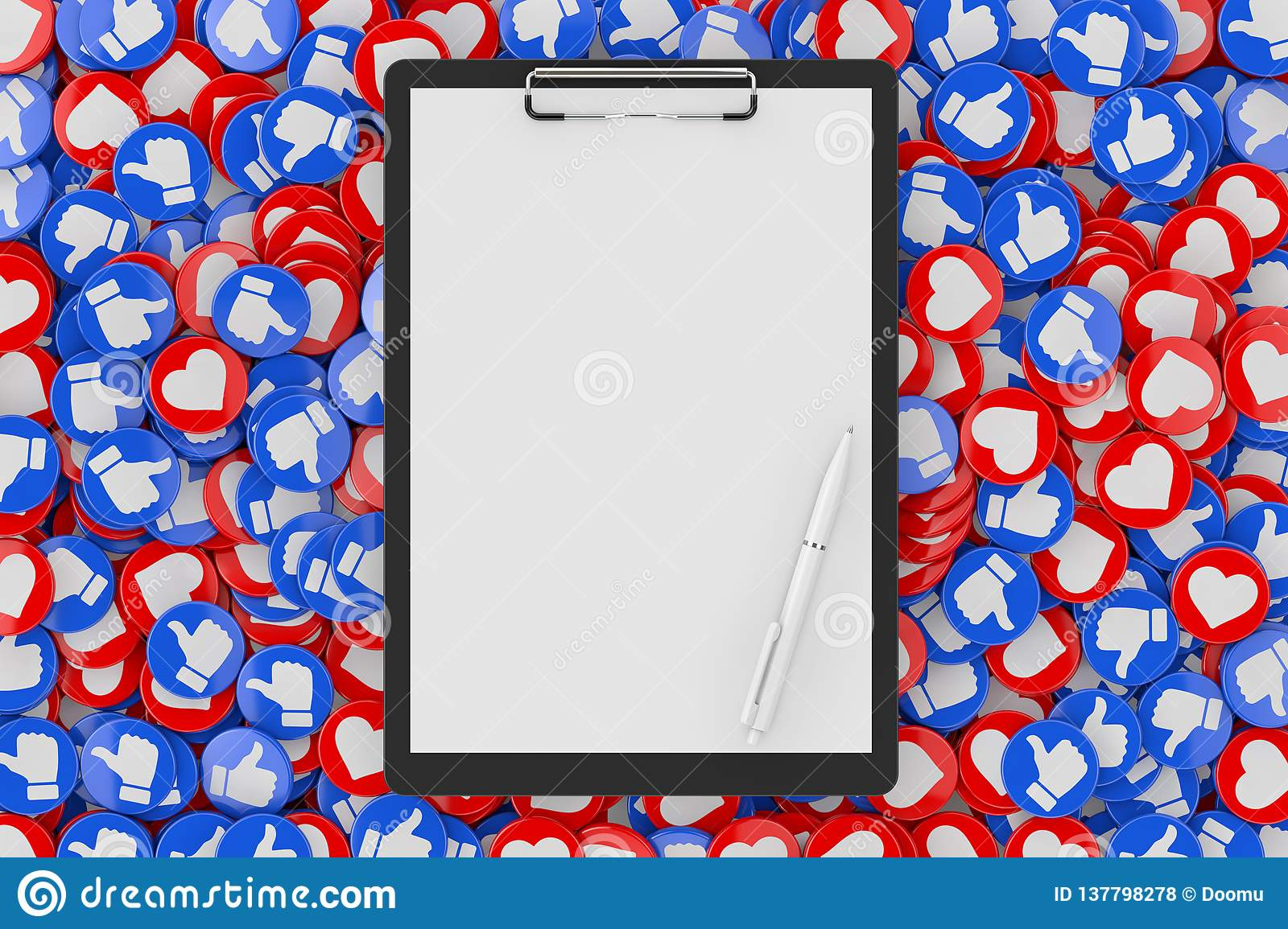 Clipboard with Blank Paper and Pen over Heap of Social Media Network Love and Like Heart Badges Coins Background Texture. 3d