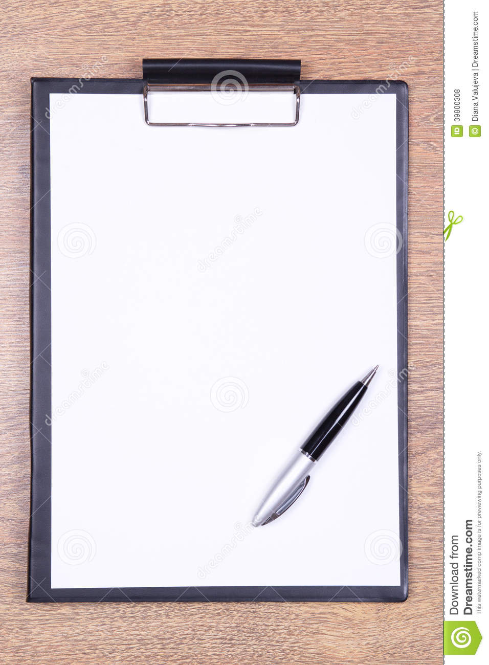 Clipboard With Blank Paper And Pen On Wooden Table Stock