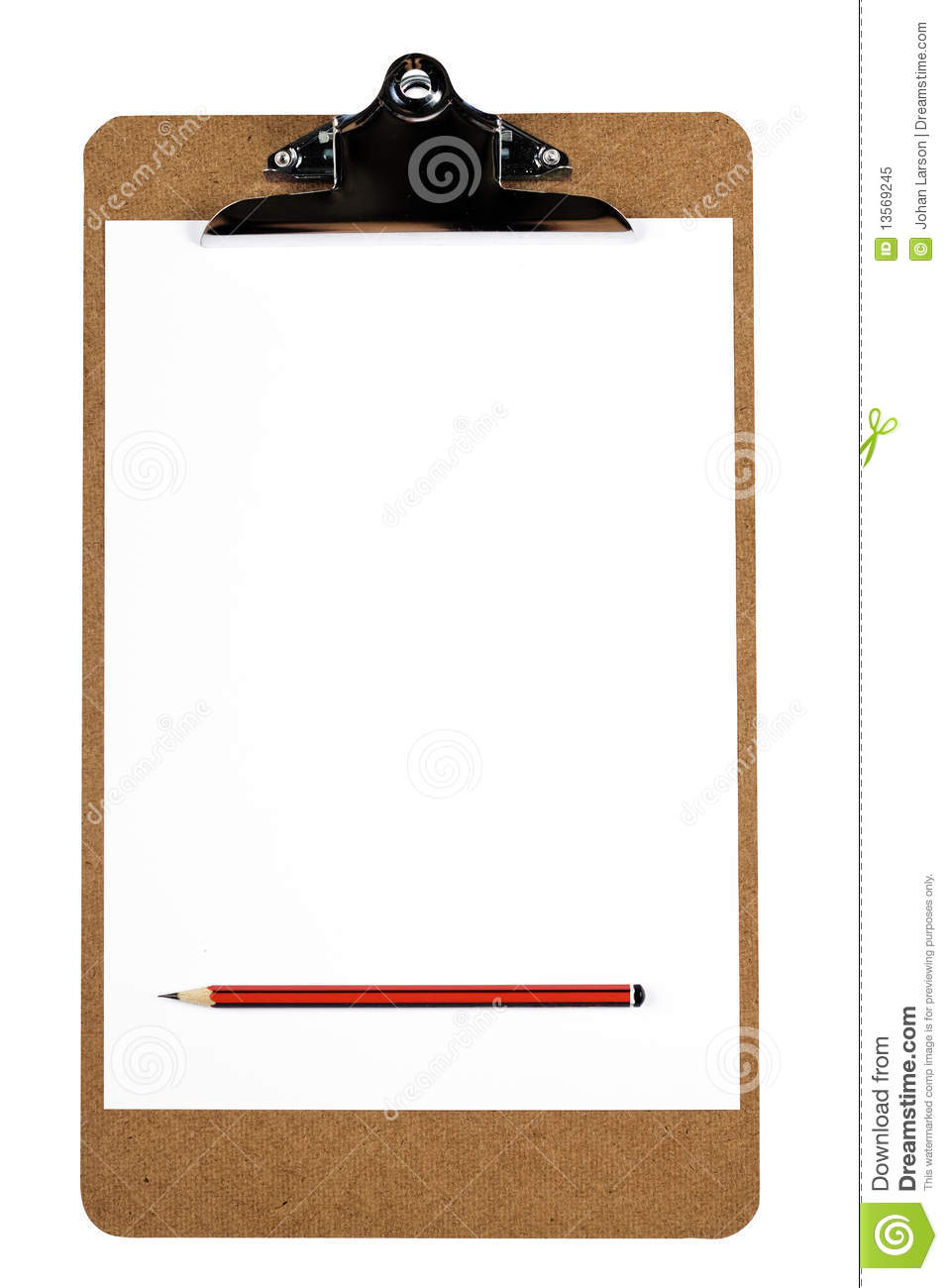 clipboard with blank paper and pencil stock image image of office