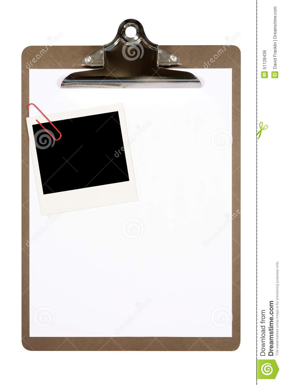 Clipboard Polaroid Frame Isolated White Background Copy Space Stock ...
