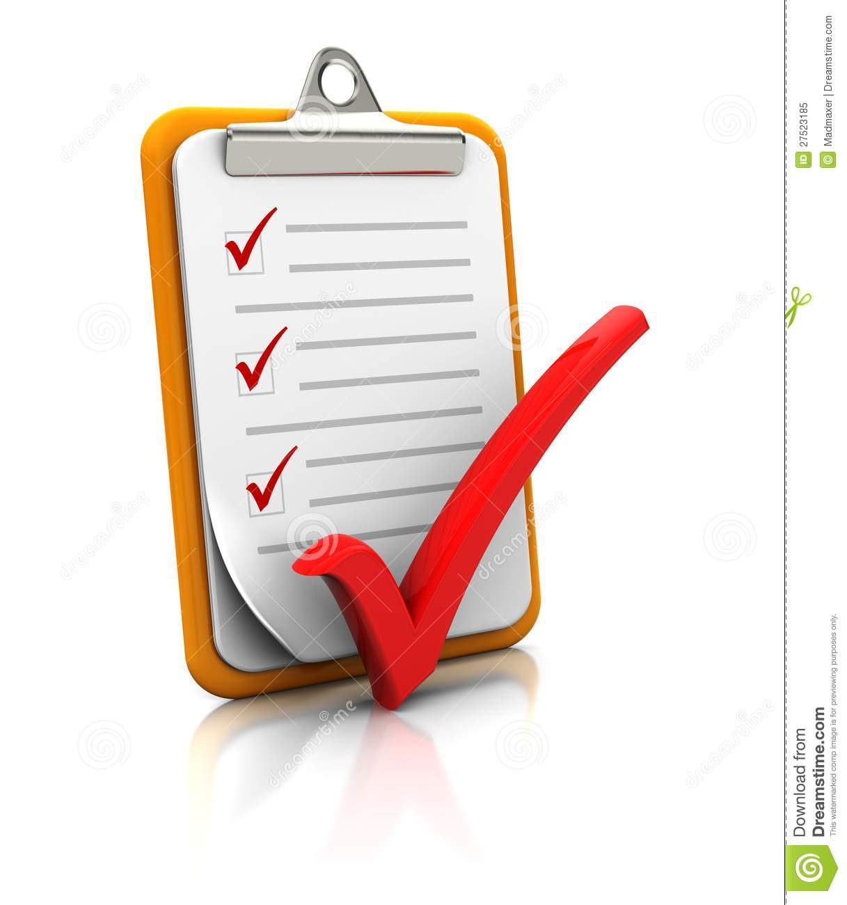 Clipboard With Checklist Royalty Free Stock Photo - Image: 27523185
