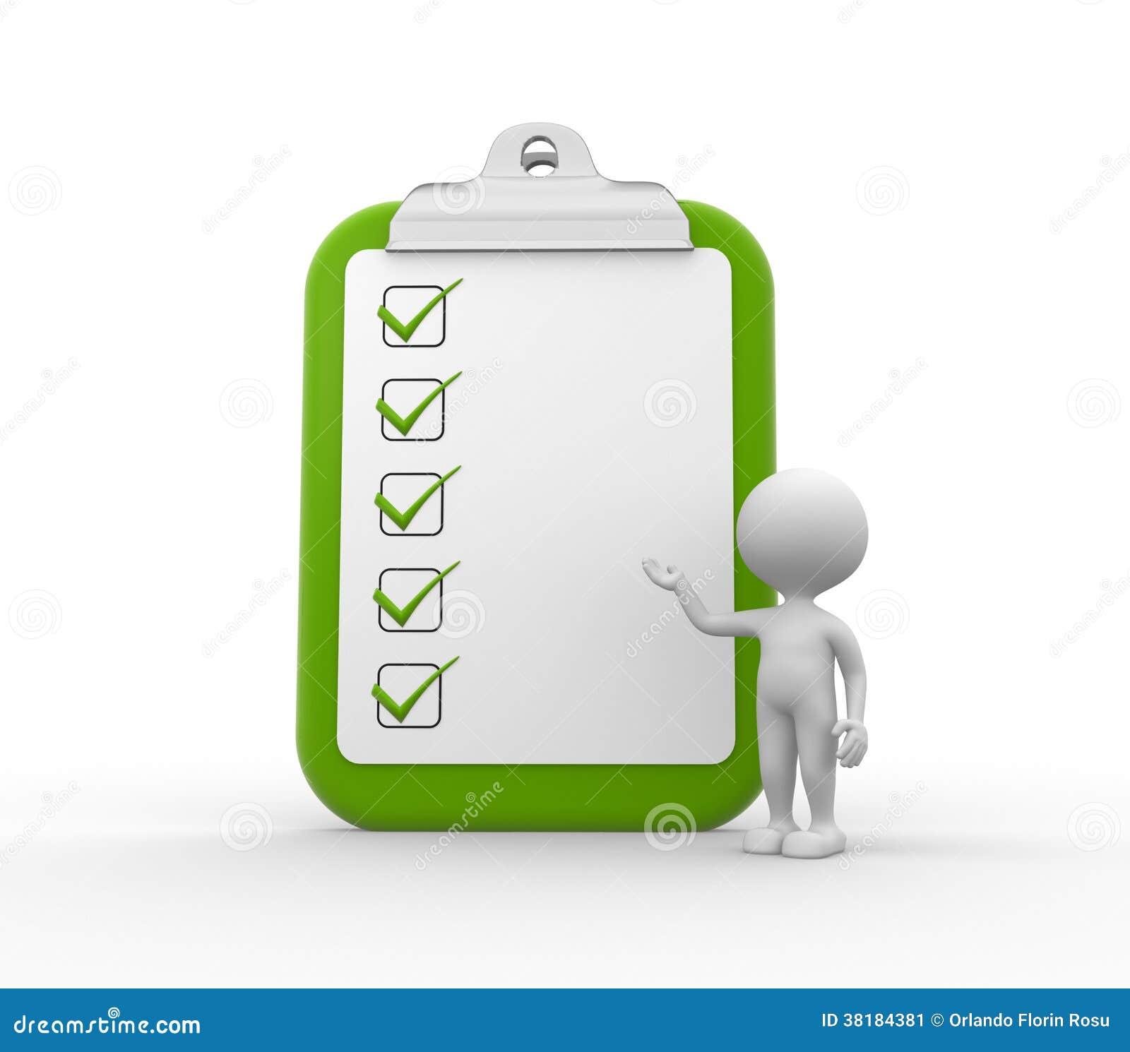 Clipboard and checklist.