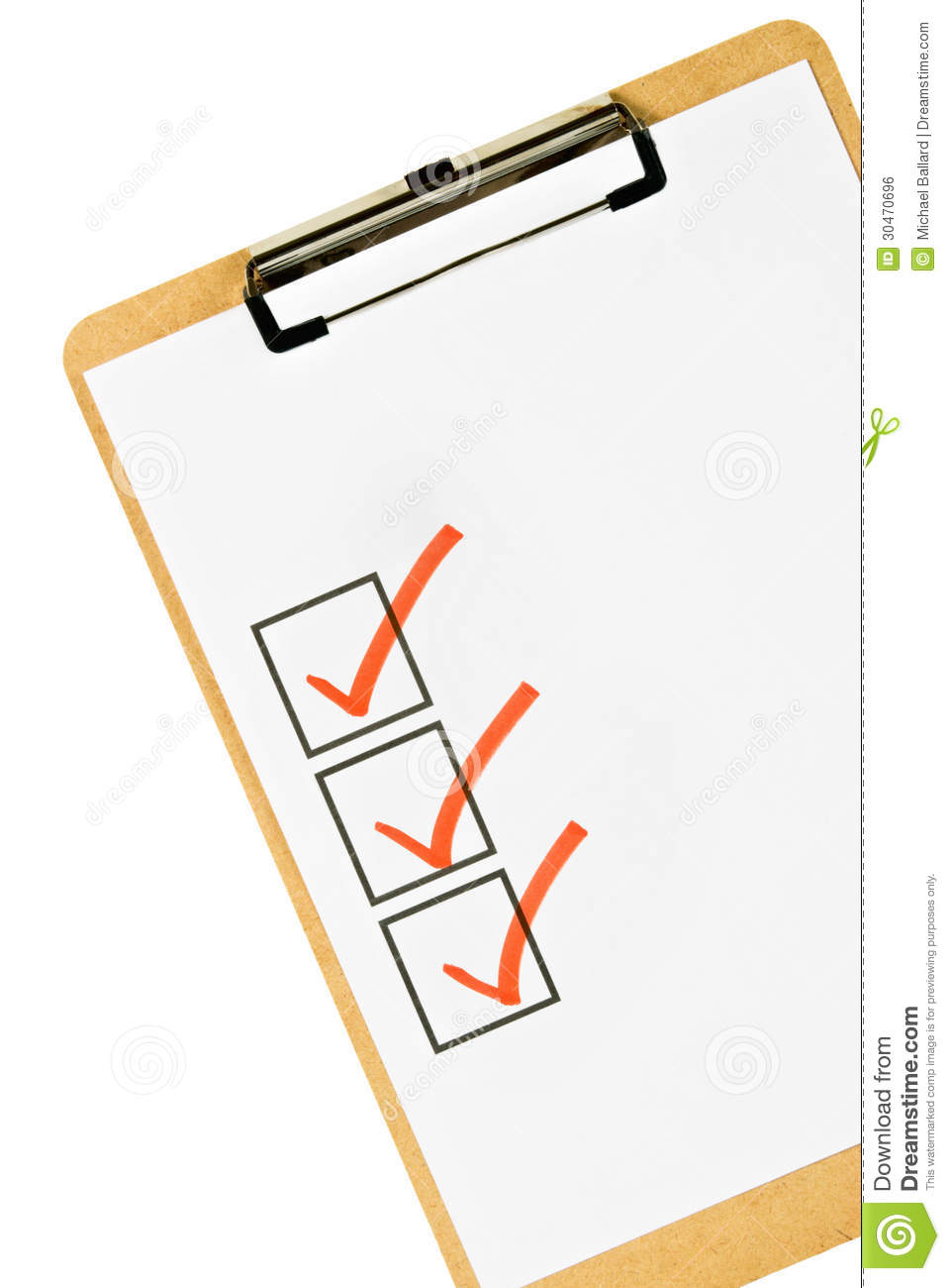 clipboard and checklist stock photo. image of isolated - 30470696