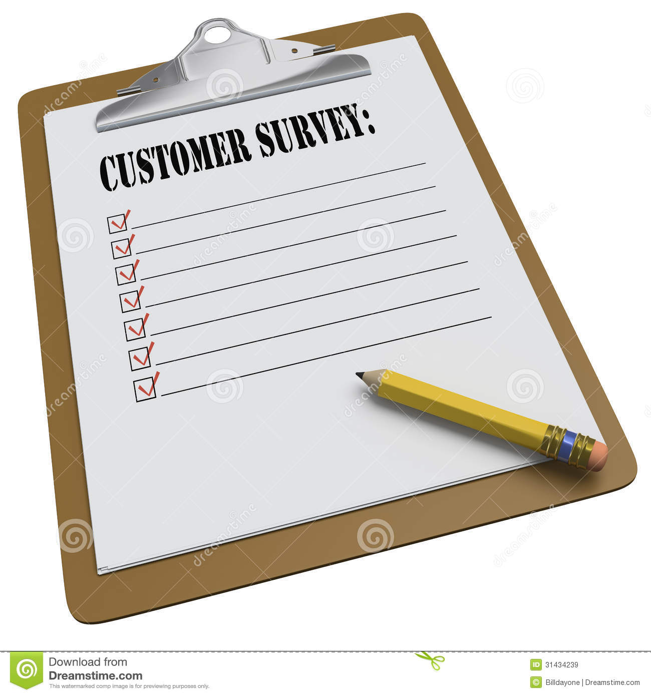 Clipboard With Customer Survey Message And Checkboxes Images – Customer Survey