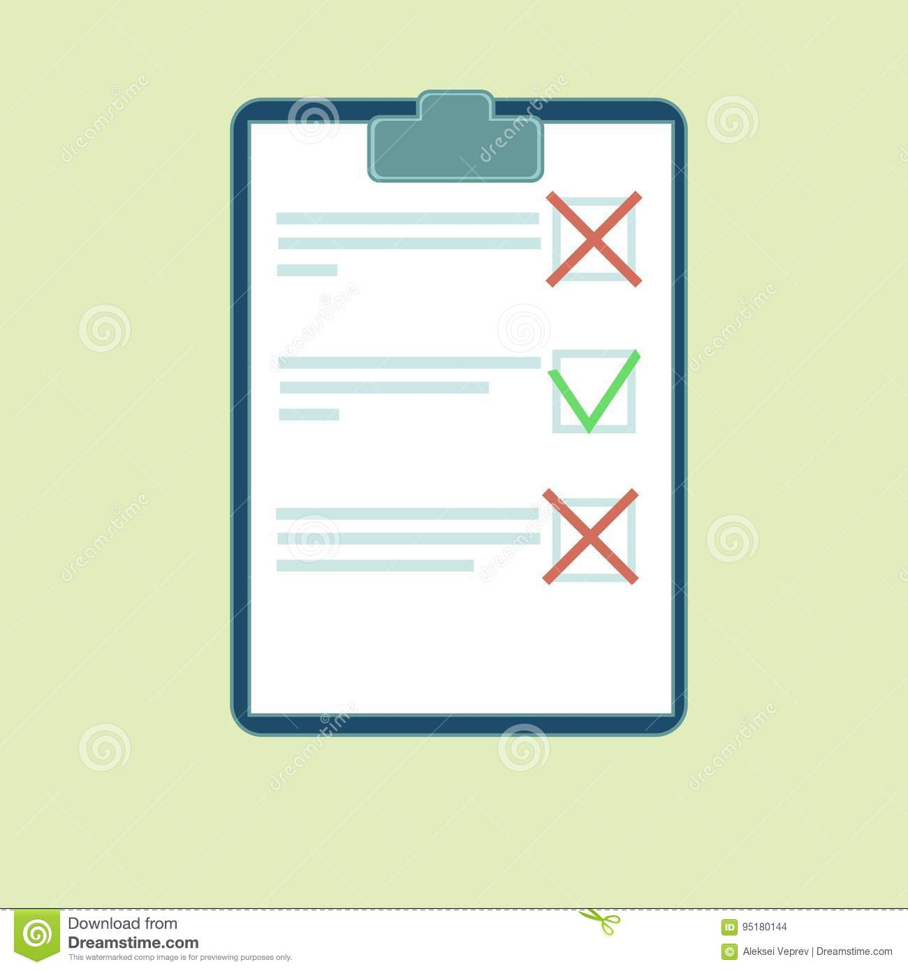 4384f2f5bcc0 Clipboard With Green Tick And Red Crosses. Stock Vector ...