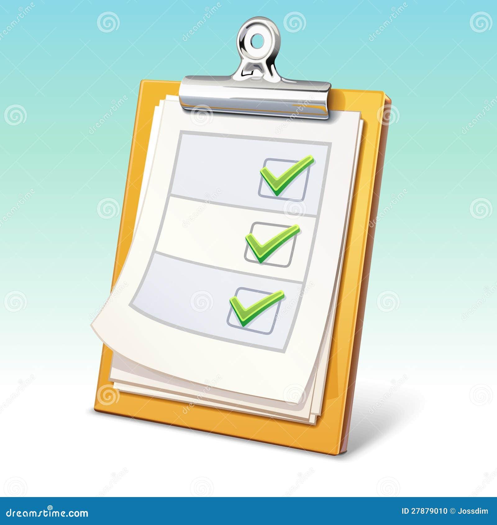 Clipboard med kontrolllistan