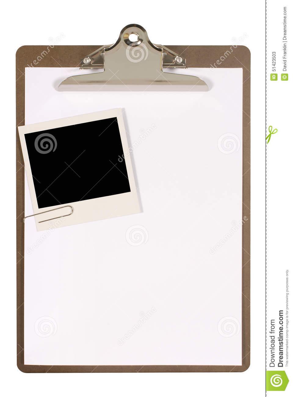 Clipboard With Polaroid Photo Frame, White Blank Paper, Copy Space ...