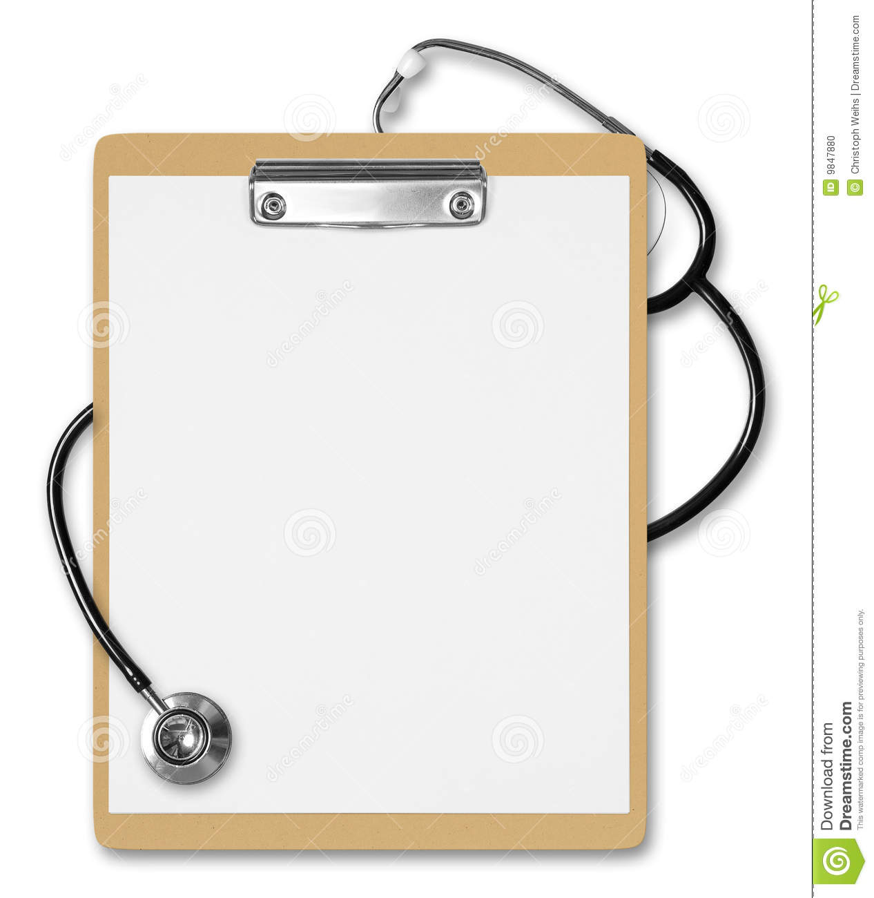 Clipboard Stethoscope Stock Photo Image 9847880