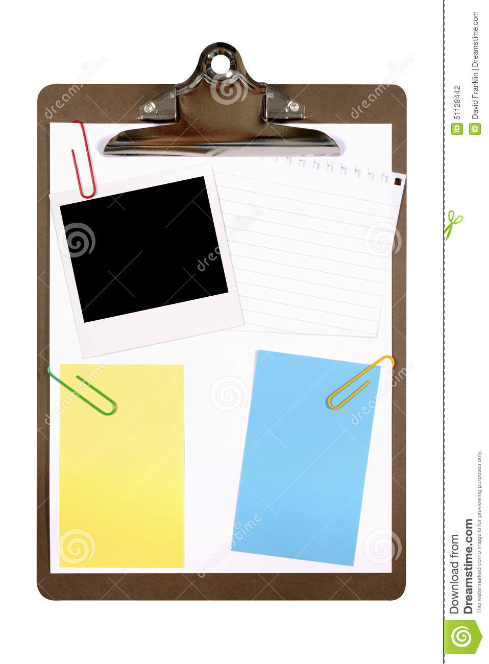 Clipboard Polaroid Frame Paper Copy Space Isolated White Background ...