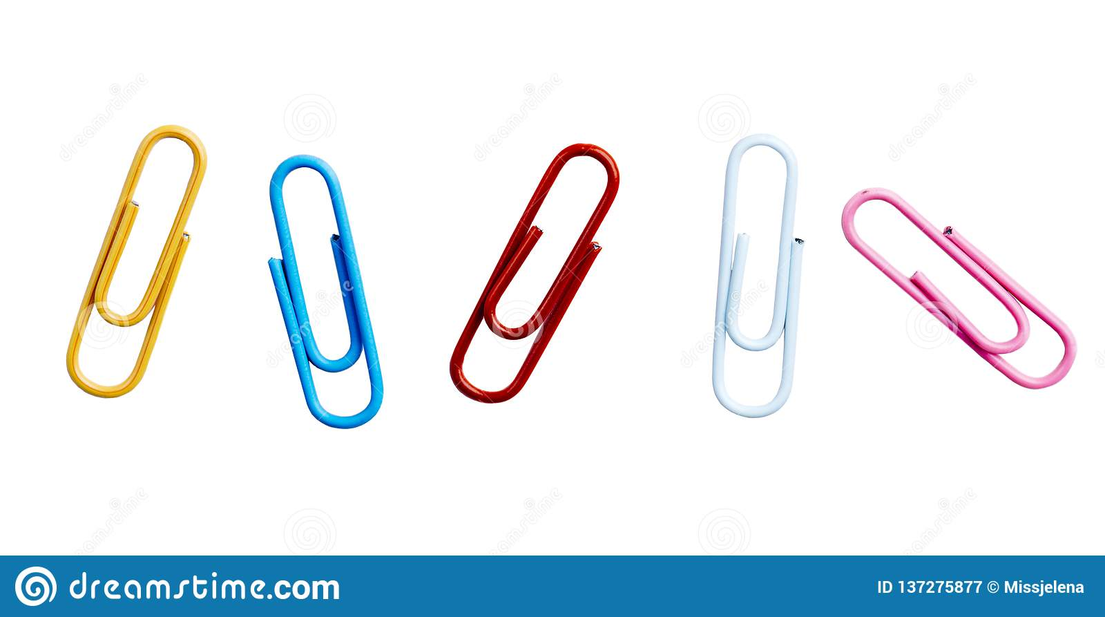 Clipes de papel coloridos isolados sobre o fundo branco