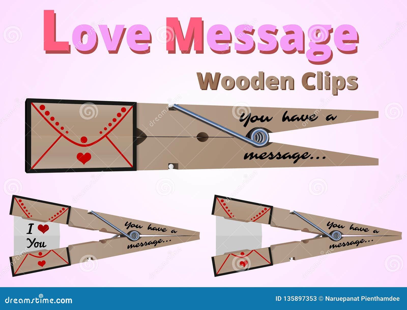 Clips de madera del mensaje del amor