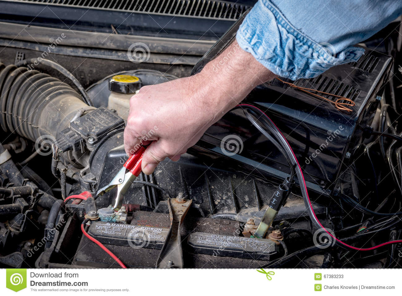Clips Are Put On A Car Battery For Chargin Stock Image Of Automotive Wiring
