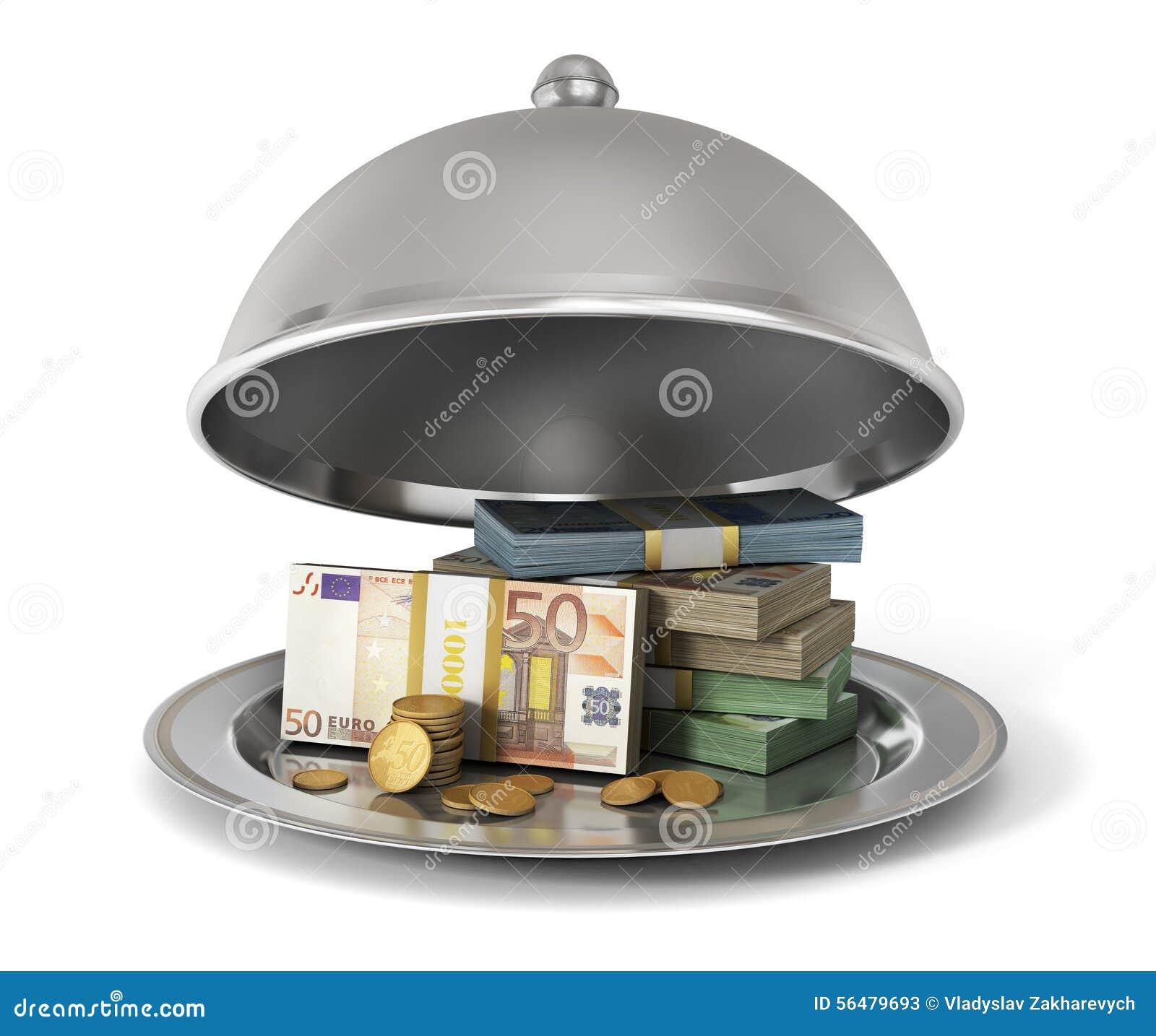 Cloche argentée de restaurant avec des billets de banque et des pièces de monnaie