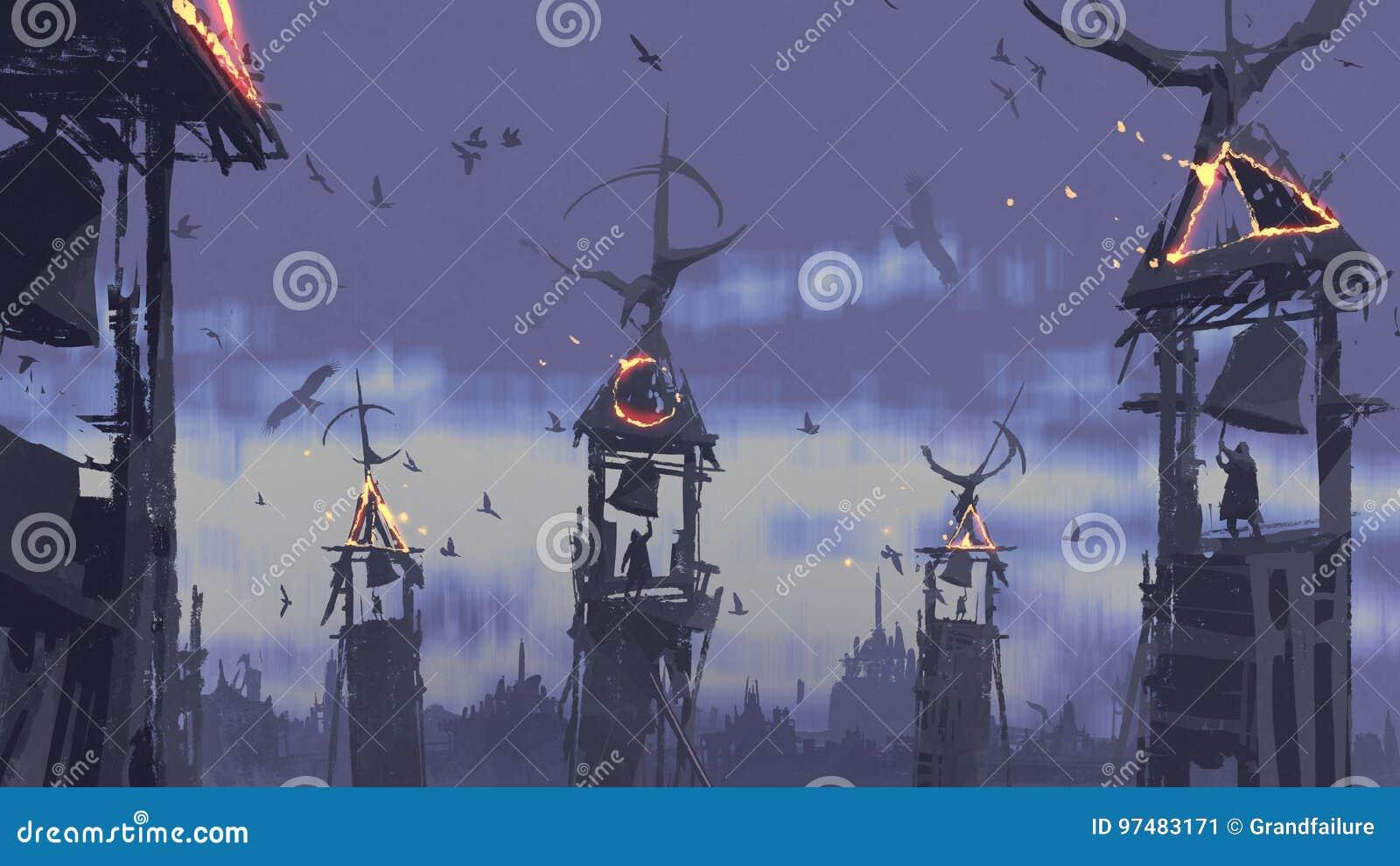 cloche de sonnerie de personnes sur la tour contre des oiseaux volant dans le ciel illustration. Black Bedroom Furniture Sets. Home Design Ideas