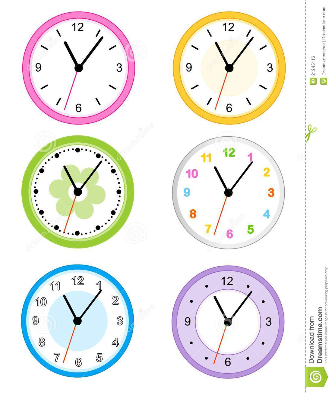 Collection of different type cute wall clock faces isolated on white ...