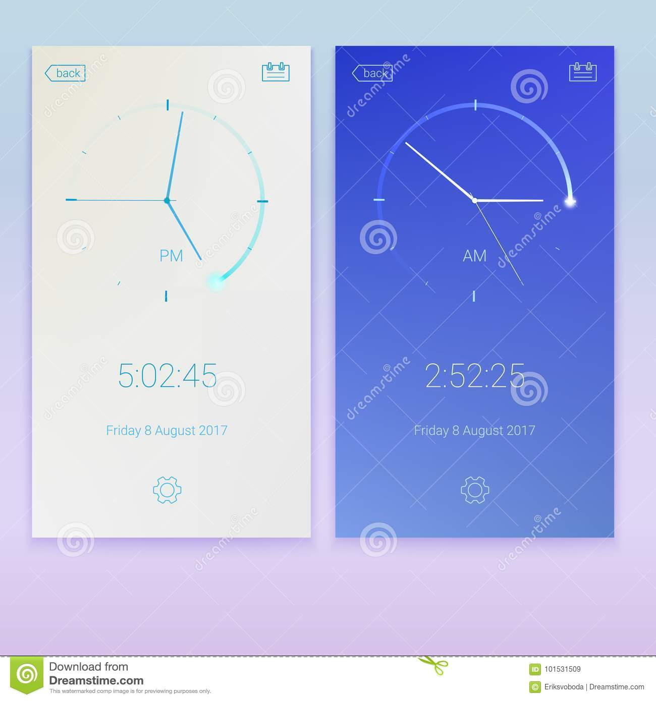 Clock Application, Concept Of UI Design, Day And Night Variants