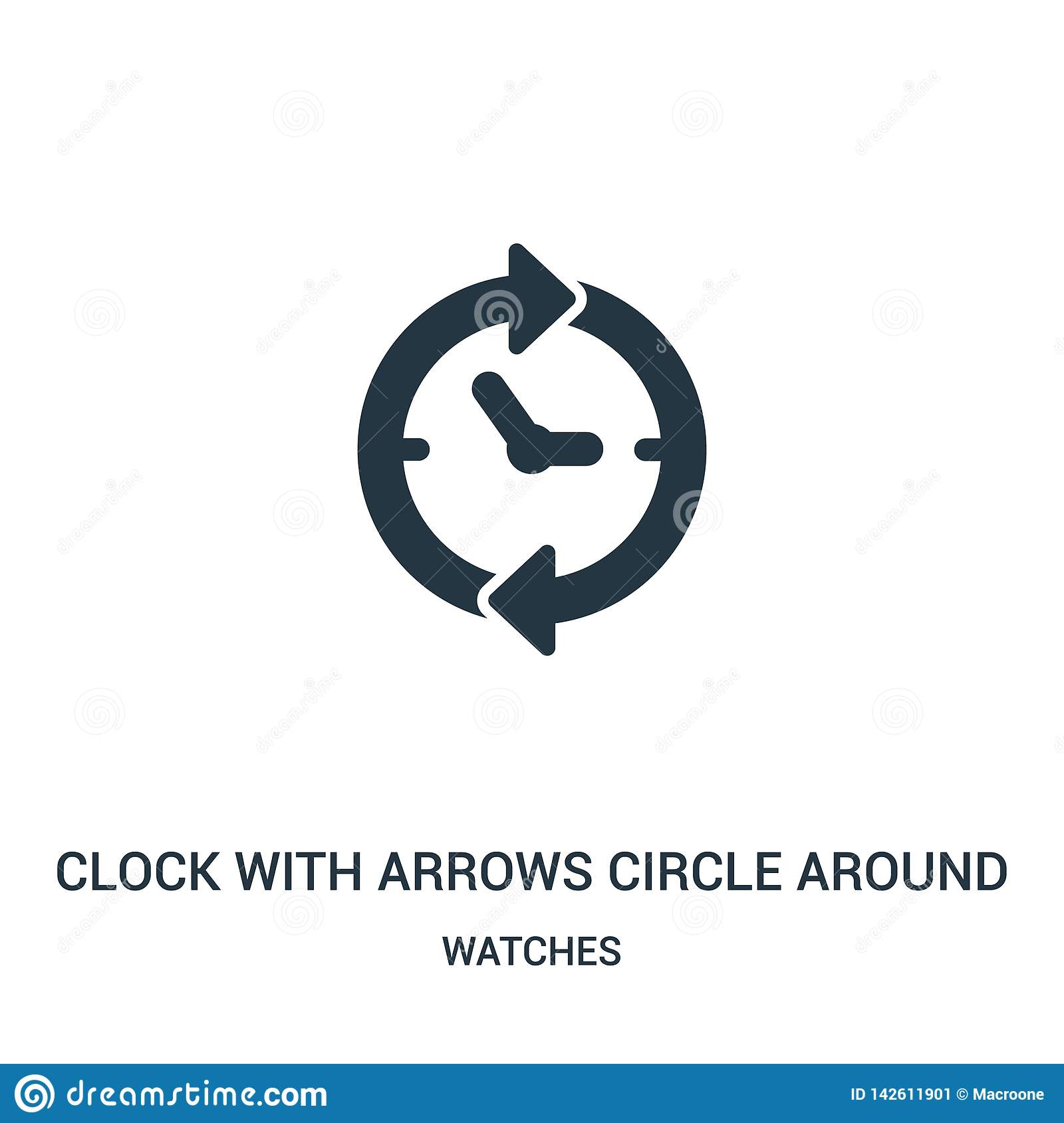 clock with arrows circle around icon vector from watches collection. Thin line clock with arrows circle around outline icon vector