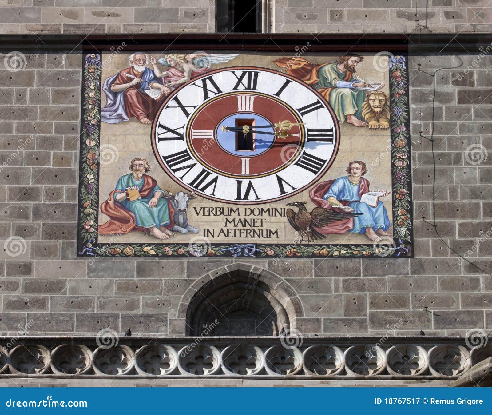 The clock of black church in Brasov - RAW format